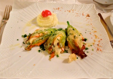 Stuffed courgette flowers in Parma